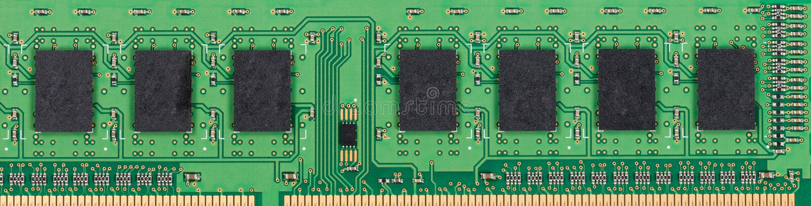 Memory circuit board and chipset for computer. Close up of memory circuit board with chipset stock images