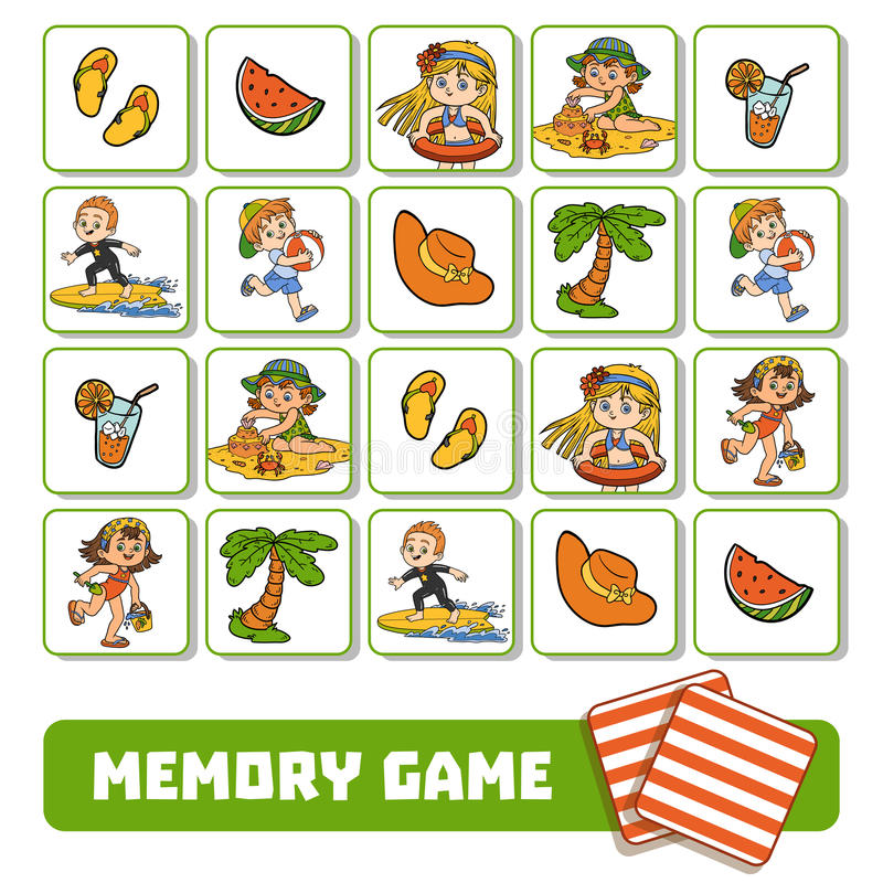 Memory game for children, cards with summer children and objects vector illustration