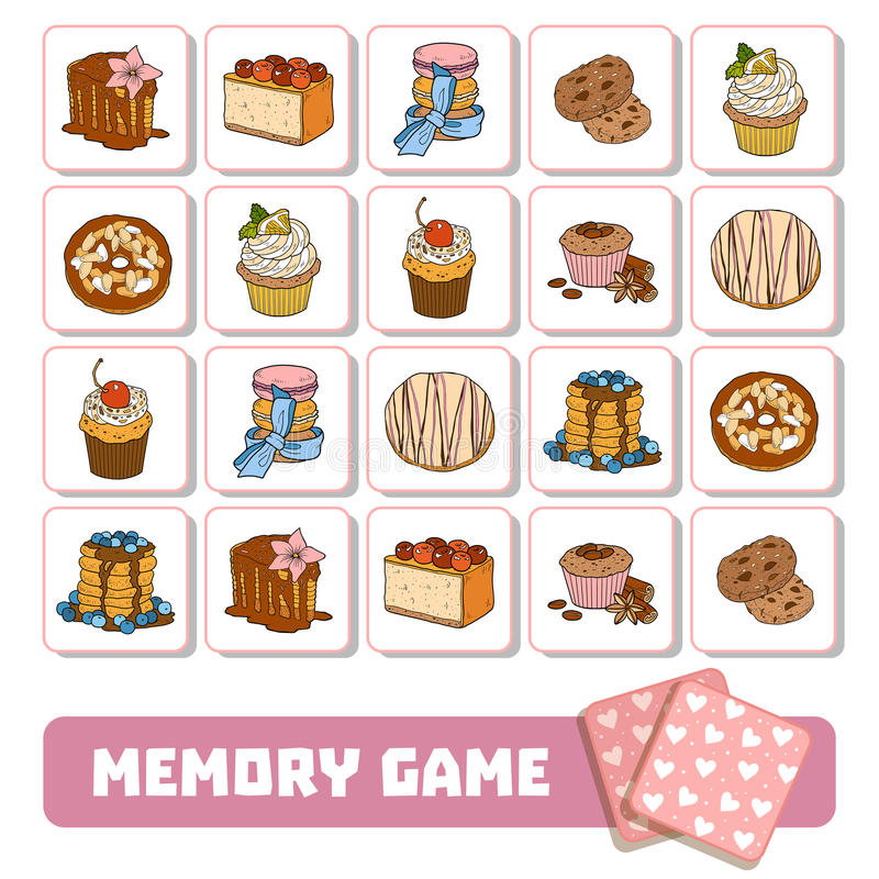 Memory game for children, cards with sweets and cakes vector illustration