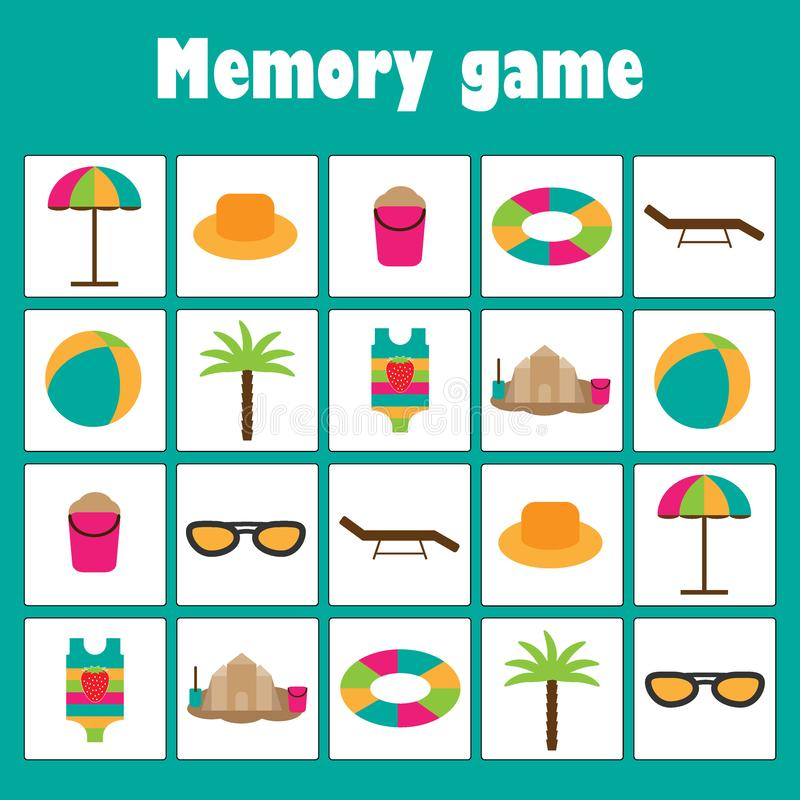 Memory game with summer beach pictures for children, xmas fun education game for kids, preschool activity, task for the stock illustration