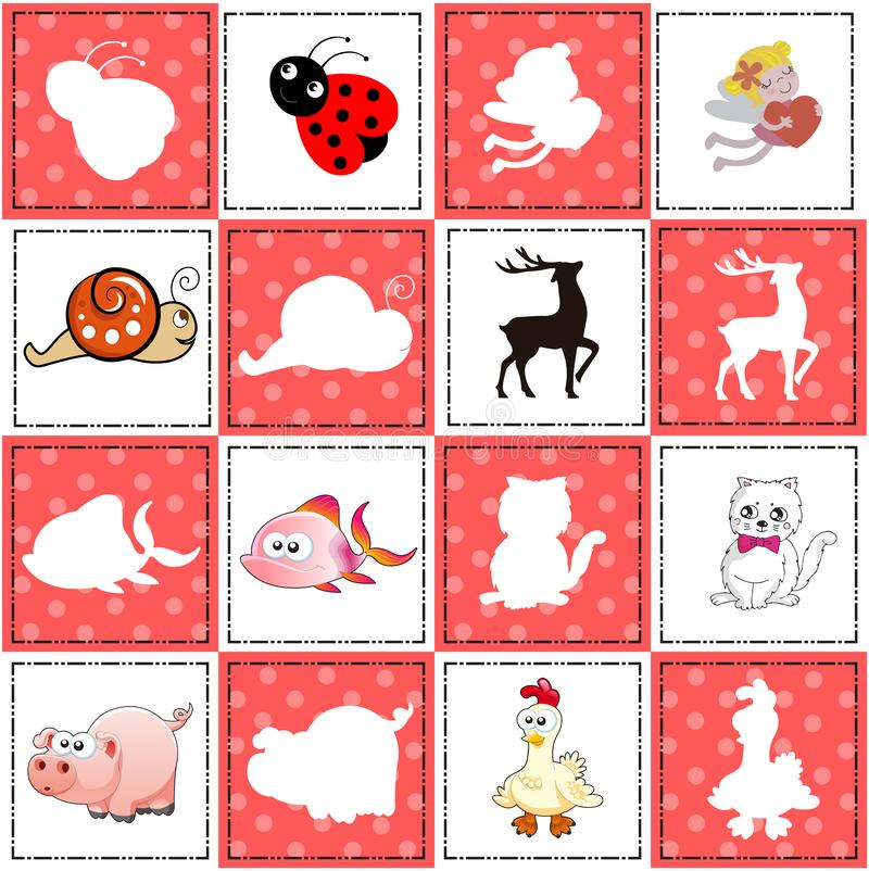 Memory game for preschool children, vector cards with cartoon animals. Find two identical picture. Kids activity page for book. royalty free illustration