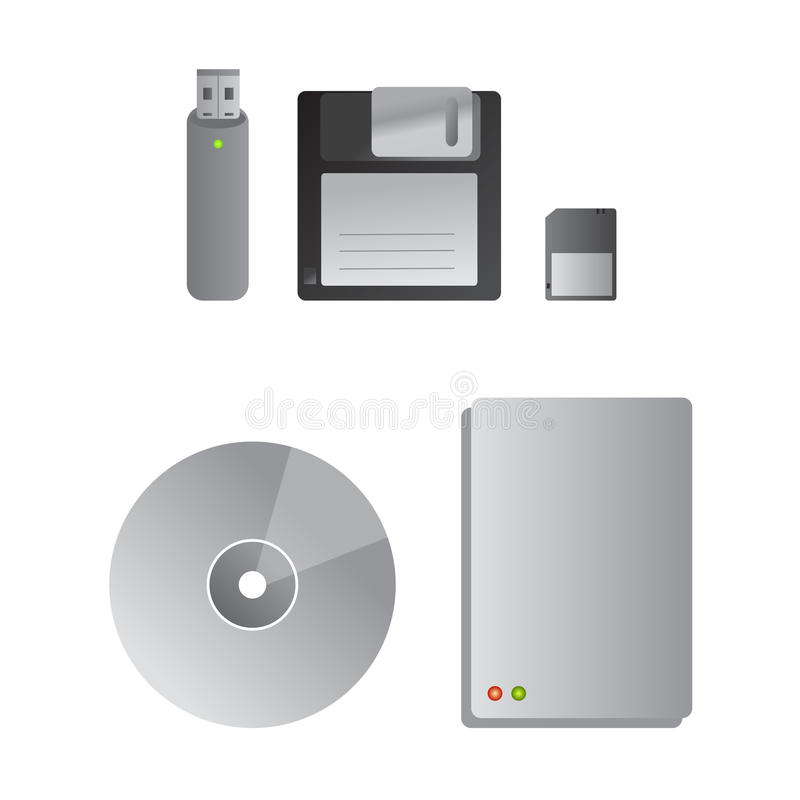 Memory hard drives and devices stock illustration