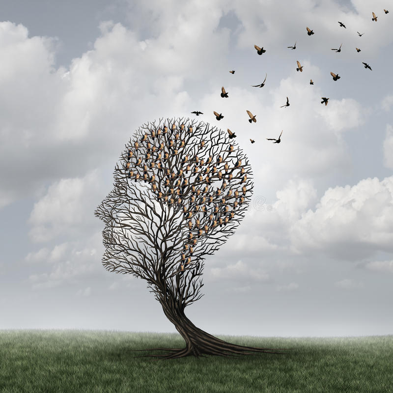 Memory Loss Concept. And Alzheimer patient surreal symbol as a medical mental health care concept with an empty head shaped tree and a group of birds shaped as vector illustration