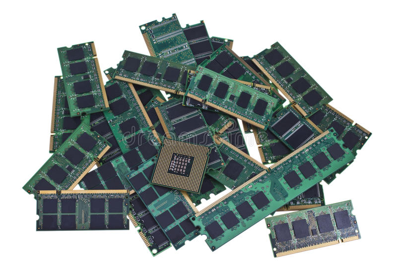 Memory modules and a modern CPU royalty free stock photos