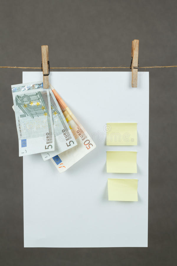 Download Memory Note Paper With Euro Moneys Hanging On Cord Stock Photo - Image: 28459844