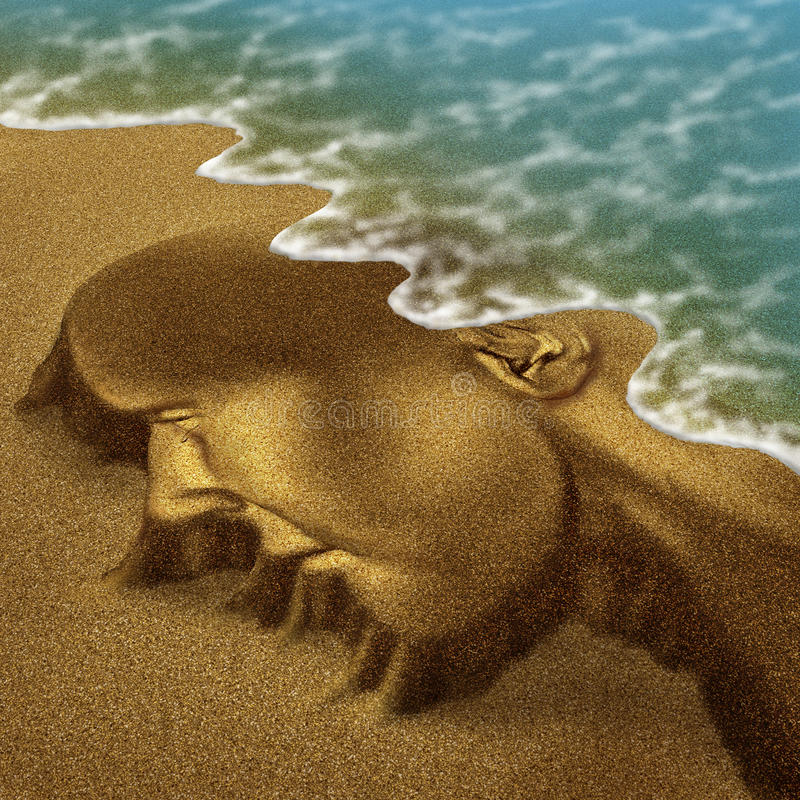 Memory Problems. Due to Dementia and Alzheimer disease as a medical health care aging concept with a head and brain sculpted from sand on the beach with the royalty free illustration