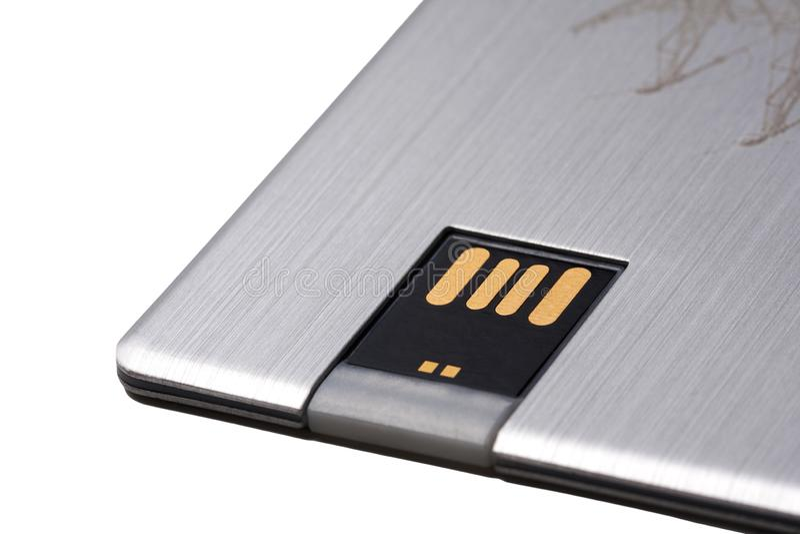 Memory stick moderno di dati di USB, azionamento istantaneo della nuova carta portatile della tasca con i connettori dorati isola fotografia stock