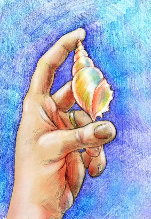 Memory of summer. Hand drawn pencil sketch of a hand wearing golden ring and holding a spiral sea shell. On blue background made of colored pencil strokes