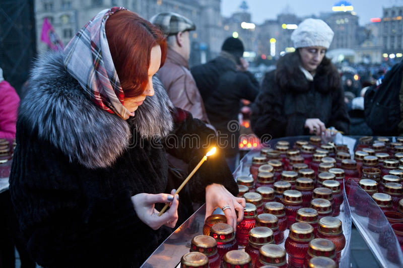 Memory of the Victims. Kiev Ukraine. February 20, 2015. Thousands of Ukrainians attended an anniversary ceremony held to remember the victims of the 2014 Maidan royalty free stock photos