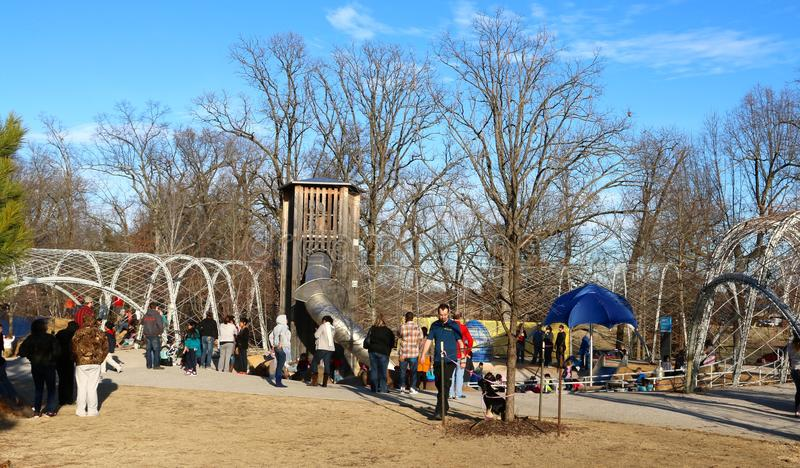 Memphians enjoy a day at the park at Shelby Farms in Memphis stock photography