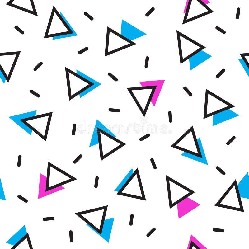 MEMPHIS ART-DOPPELT-DREIECK-BESCHAFFENHEIT Geometrisches nahtloses Vektormuster stock abbildung