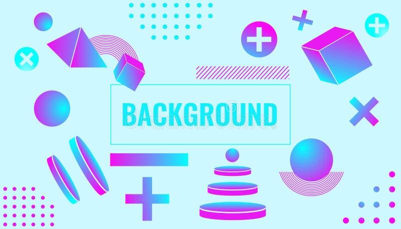 Memphis Background semplice & elegante con le forme 3d royalty illustrazione gratis
