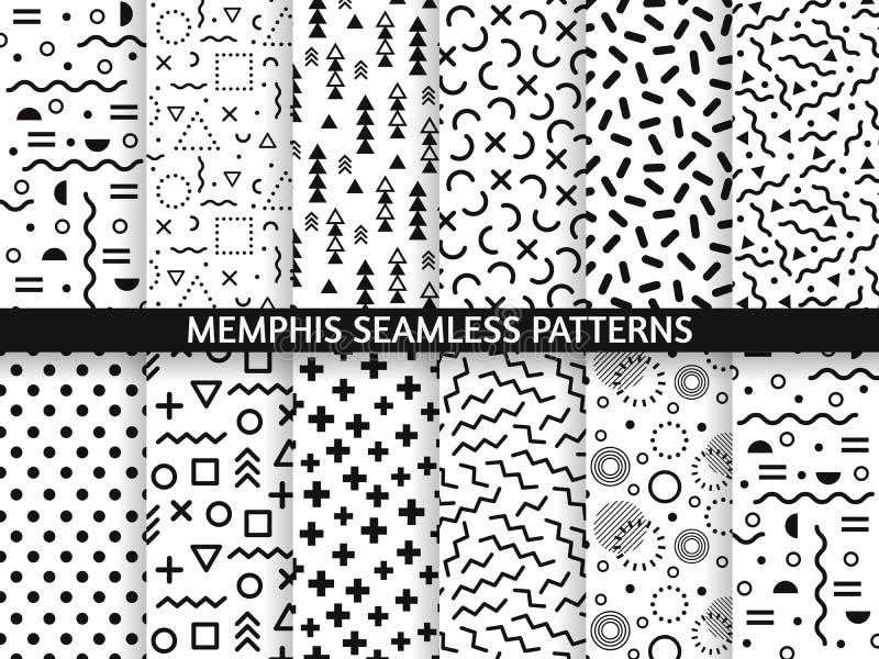 Memphis bezszwowi wzory Ostry wzór, retro moda 80s i 90s druk, deseniujemy teksturę Geometryczny grafika styl royalty ilustracja