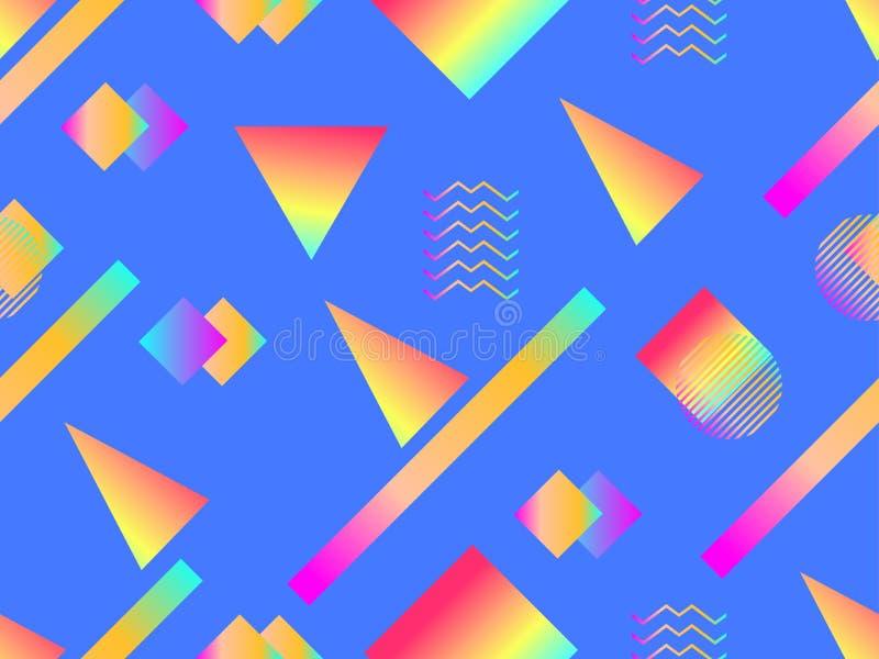 Memphis bezszwowy wzór Holograficzni geometryczni kształty, gradienty, retro styl 80's Memphis projekta tło wektor ilustracja wektor
