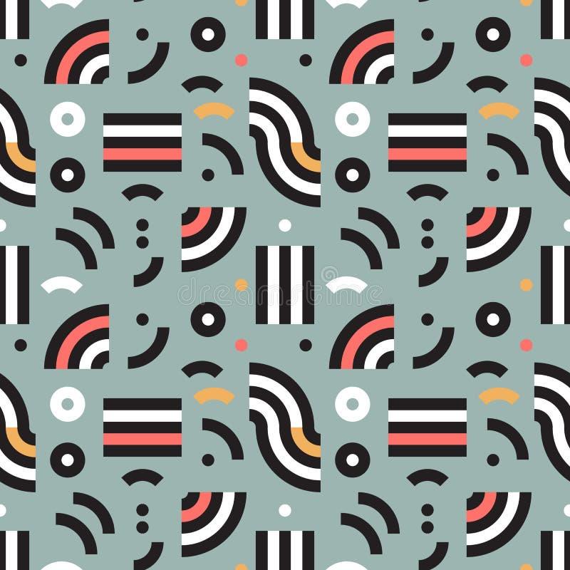 Memphis bezszwowy wzór w retro stylu Wektorowy geometryczny tło Nowożytna 80s stylowa kolorowa tekstura ilustracja wektor