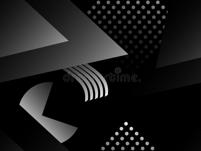 Memphis black and white seamless pattern. Geometric objects with monochrome gradient in the style of memphis vector illustration