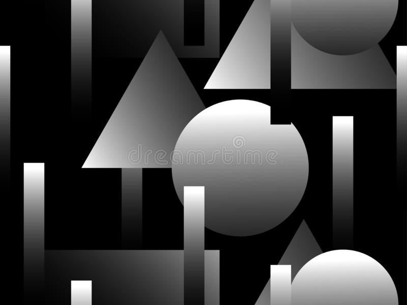 Memphis black and white seamless pattern. Geometric objects with monochrome gradient in the style of memphis. Luxury background in royalty free illustration