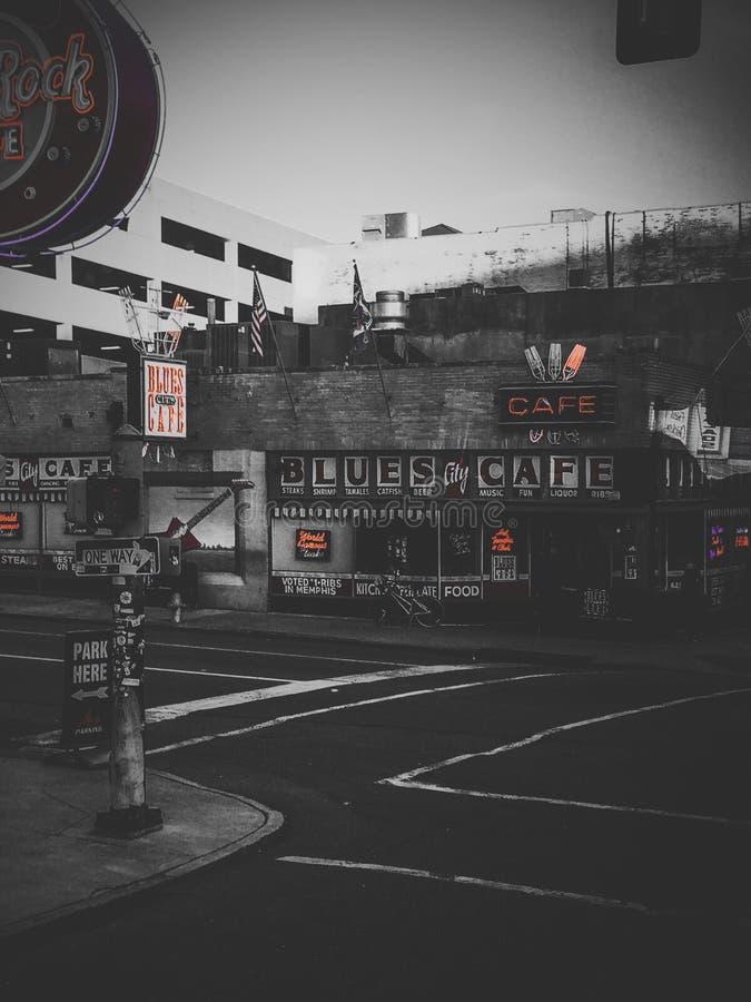 Memphis-Blaucafé lizenzfreies stockfoto