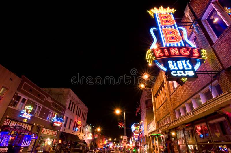 Memphis blues clubs. Famous Beale street with clubs in Memphis, TN royalty free stock image