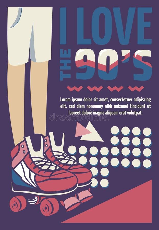Memphis carde de rétros illustrations bannières dans le style 90s dessin image stock