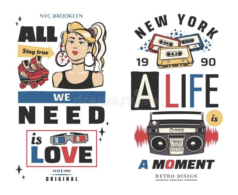 Memphis carde de rétros illustrations bannières dans le style 90s dessin photo libre de droits
