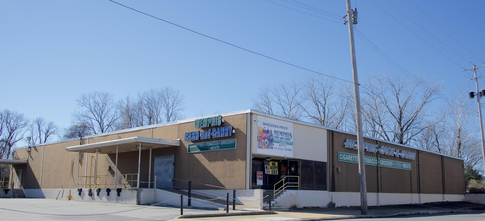 Memphis Cash and Carry Grocery Store Weitwinkel, Memphis, TN stockfotos