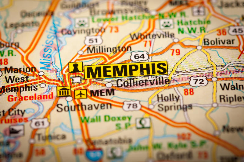 Memphis City on a Road Map. Map Photography: Memphis City on a Road Map royalty free stock photography