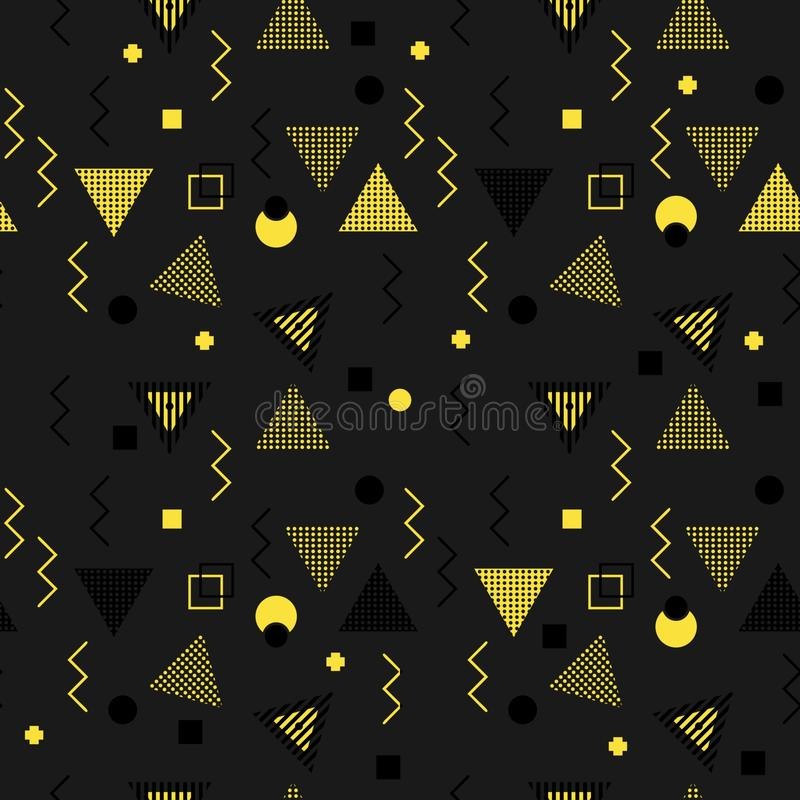Memphis colorful triangle pattern 90s design vector seamless background multicolor. Background illustration stock illustration