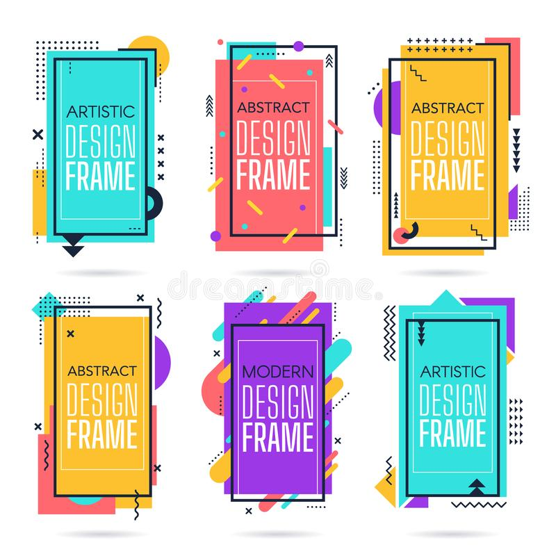 Memphis commercial frames. Minimalist abstract layout, modern hipster, retro geometric elements border, 80s memphis. Colourful art frame isolated vector icons stock illustration