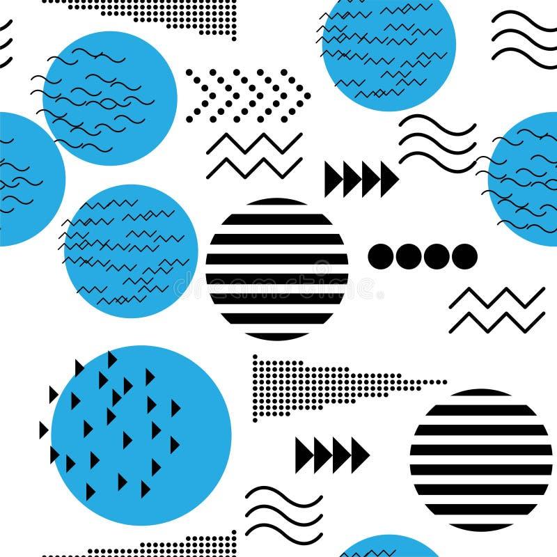 Memphis designbest?ndsdelar Retro skraj diagram, 90-taltrenddesigner och f?r tryckillustration f?r tappning geometrisk vektor f?r royaltyfri illustrationer