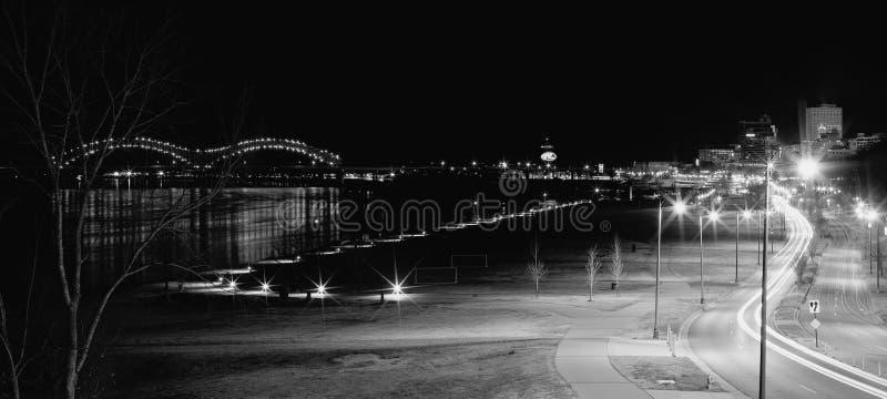 Memphis Downtown i svartvitt arkivbilder
