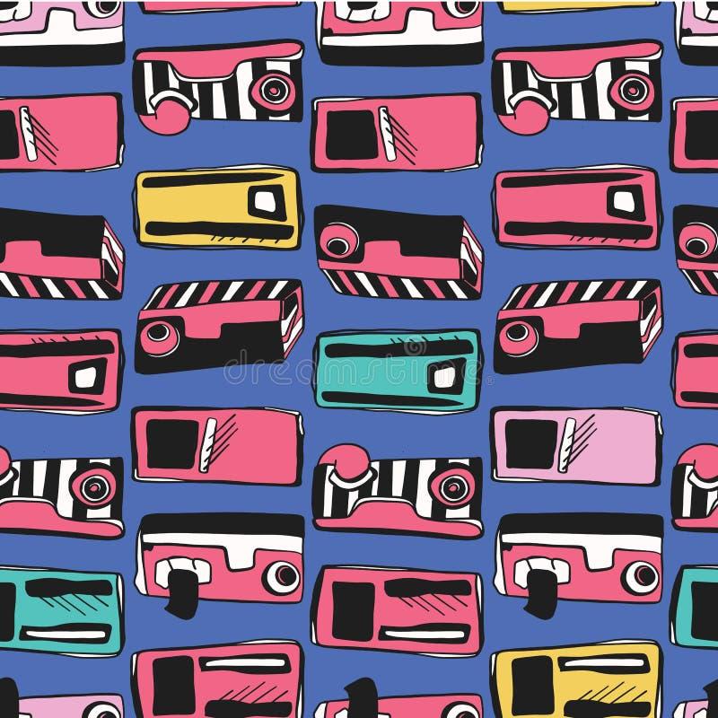 Memphis Eighties Stylized Retro Cassette-Bandspeler stock illustratie
