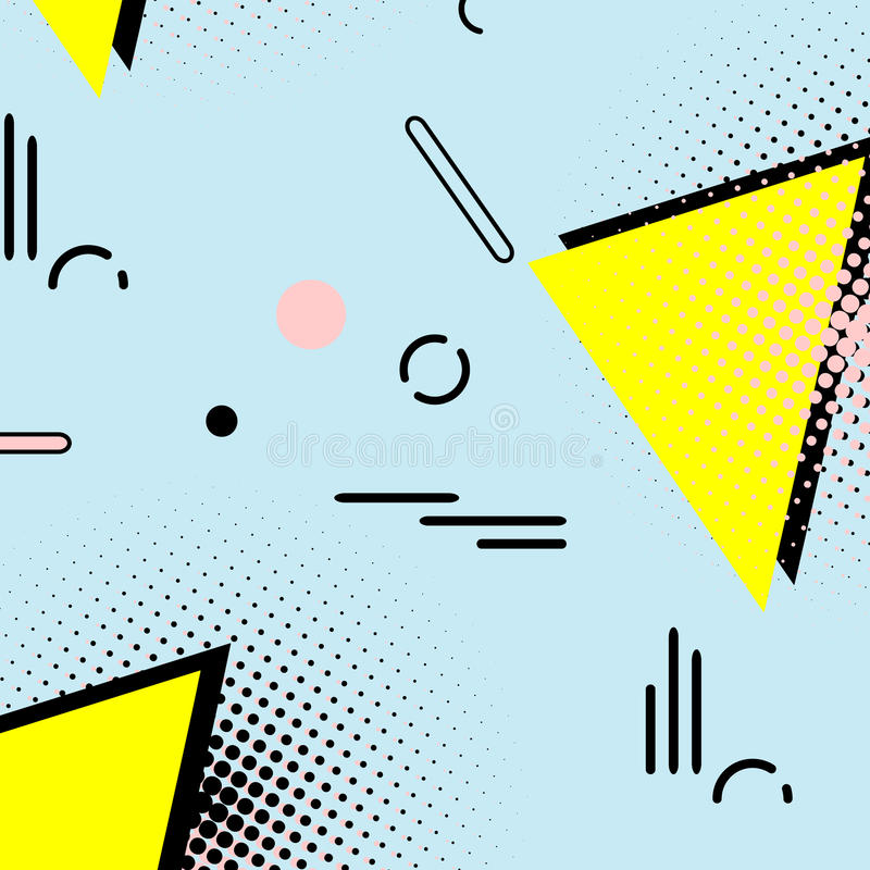 Memphis enkel 80-talmodell Abstrakt konst för geometrisk hipstermodestil 90-talgarnering med triangeln och prickar brigham stock illustrationer
