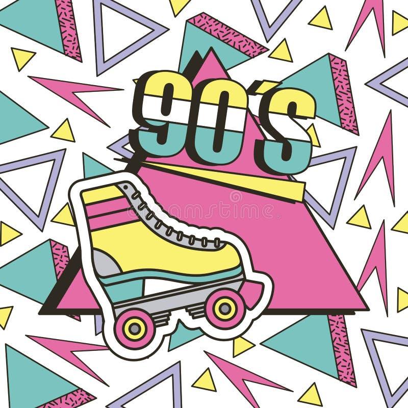 Memphis för 90-talrullskridsko den geometriska abstrakta designen stock illustrationer