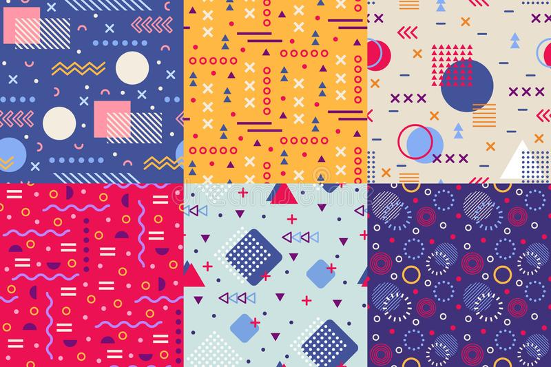 Memphis funky pattern. Retro 90s abstract shapes backgrounds. Creative shape texture poster seamless vector background royalty free illustration