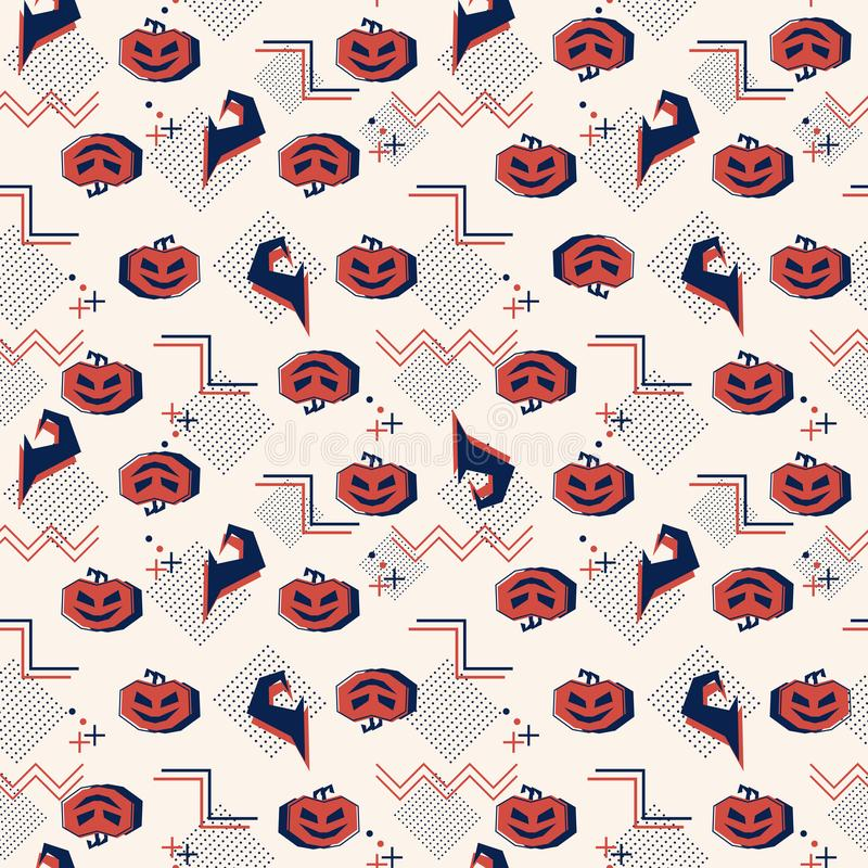 Memphis halloween with pumpkins and witch hat seamless pattern. Background abstract ghost theme for children and baby fashion prin stock illustration