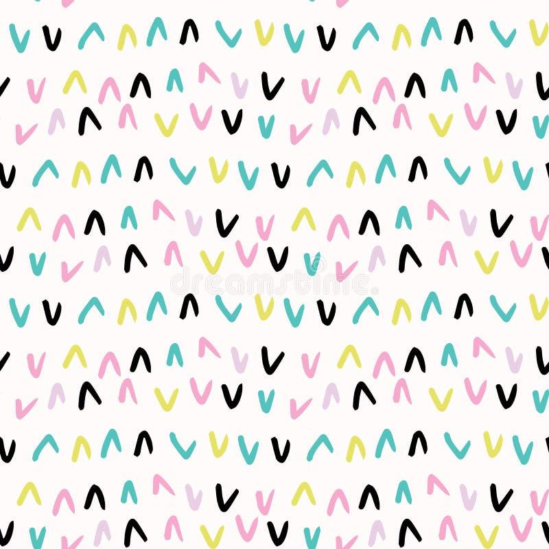 Memphis Geometric Shape Pattern, ambiti di provenienza senza cuciture di vettore, illustrazione disegnata a mano delle scale per  royalty illustrazione gratis