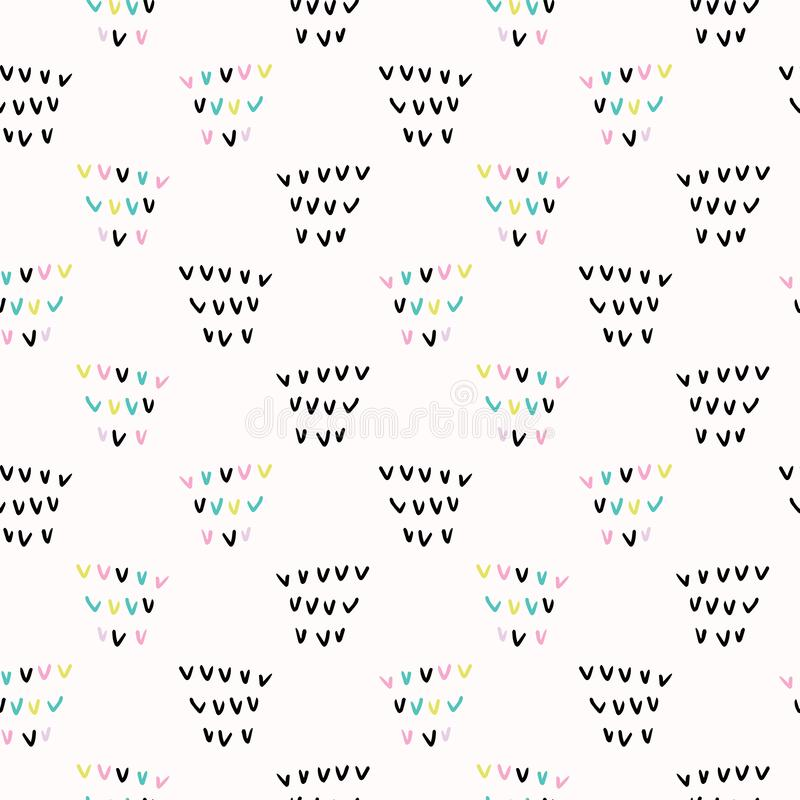 Memphis Geometric Shape Pattern, fondo inconsútil del vector, marcas de verificación dibujadas mano libre illustration