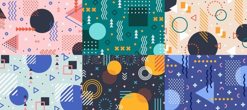 Memphis geometrii tło Kolorowy kształta wzór, żywa kolorystyki tekstura i ostry kolorów wzorów abstrakta wektor, ilustracja wektor