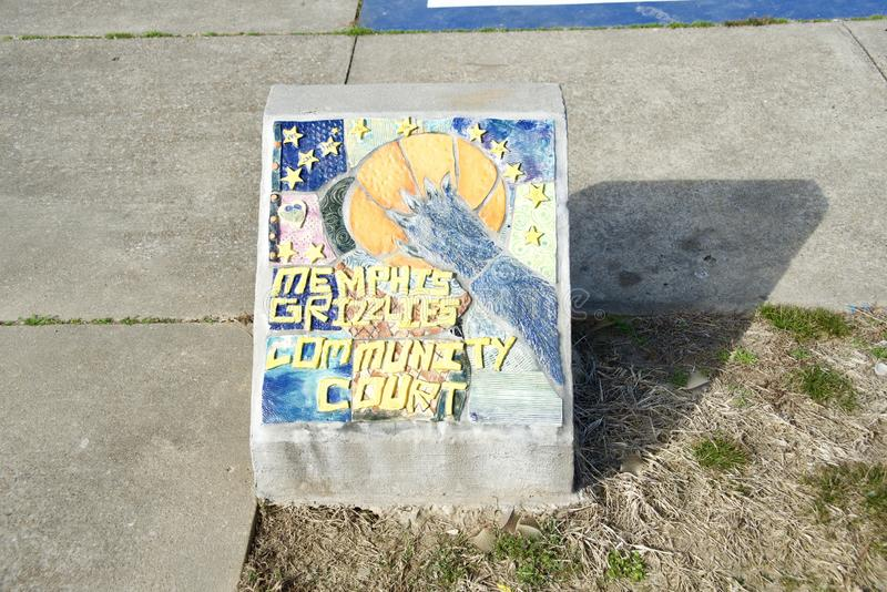 Memphis Grizzlies Community Court Art op Beton stock foto