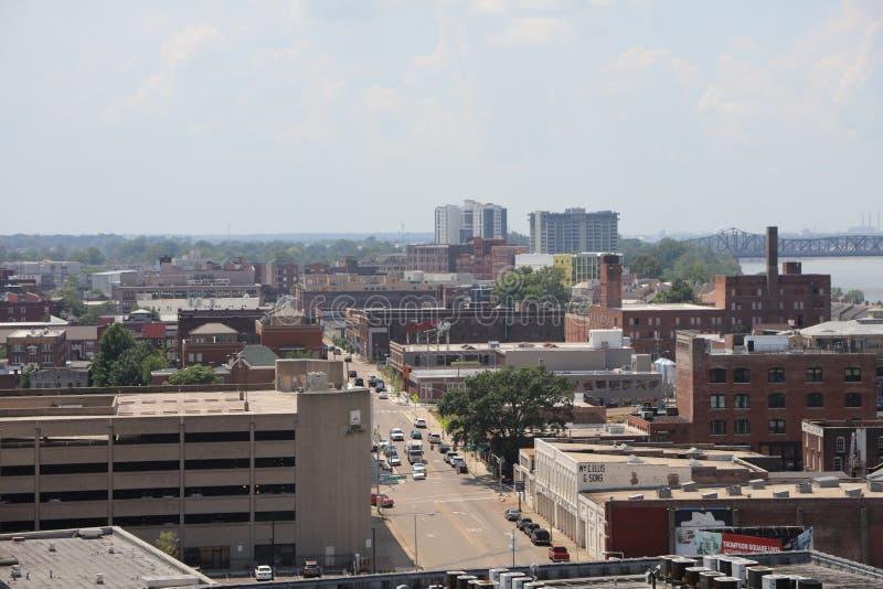 Memphis Hazy Skyline van de binnenstad stock afbeelding