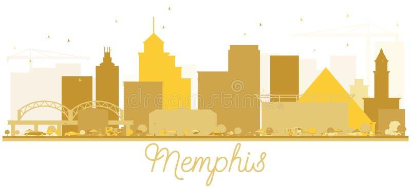 Memphis miasta linii horyzontu Złota sylwetka ilustracji