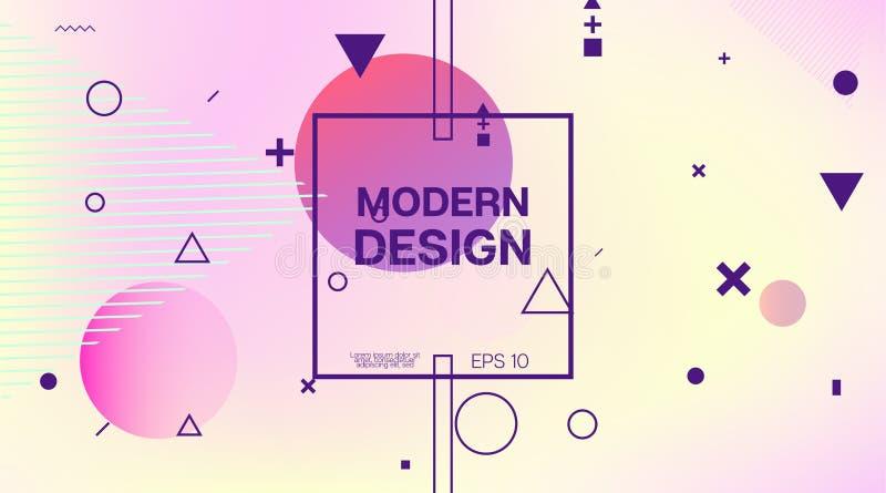 Memphis Minimal Geometric Pattern Elementos geométricos, plantilla de la cubierta del negocio Identidad de Memphis Futuristic Fly libre illustration