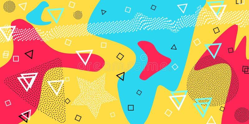 Memphis modell av geometriska former för silkespapper och vykort också vektor för coreldrawillustration Santa Claus med påsen av  vektor illustrationer
