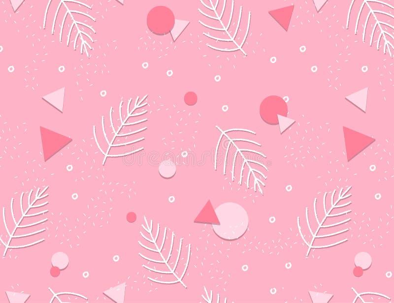 Memphis Pattern Background avec des feuilles Conception 80-90s de mode illustration stock
