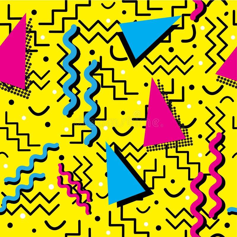 Memphis Pattern enrrollado en amarillo ilustración del vector