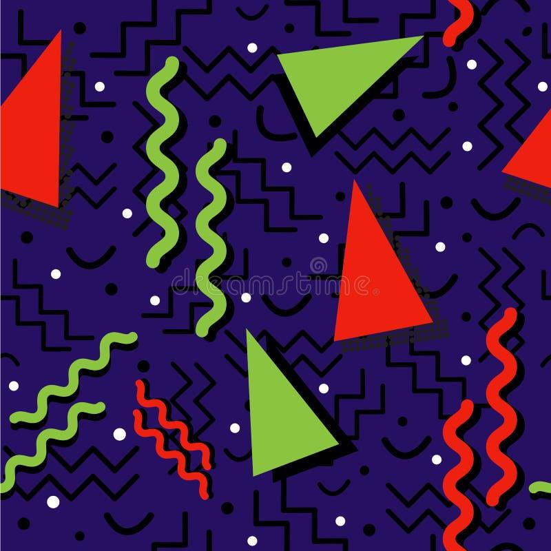 Memphis Pattern enrrollado en azul stock de ilustración
