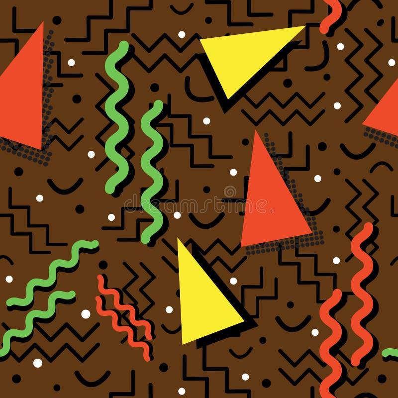 Memphis Pattern enrrollado en Brown ilustración del vector