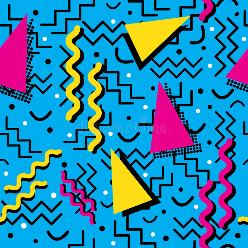 Memphis Pattern enrrollado en ciánico ilustración del vector