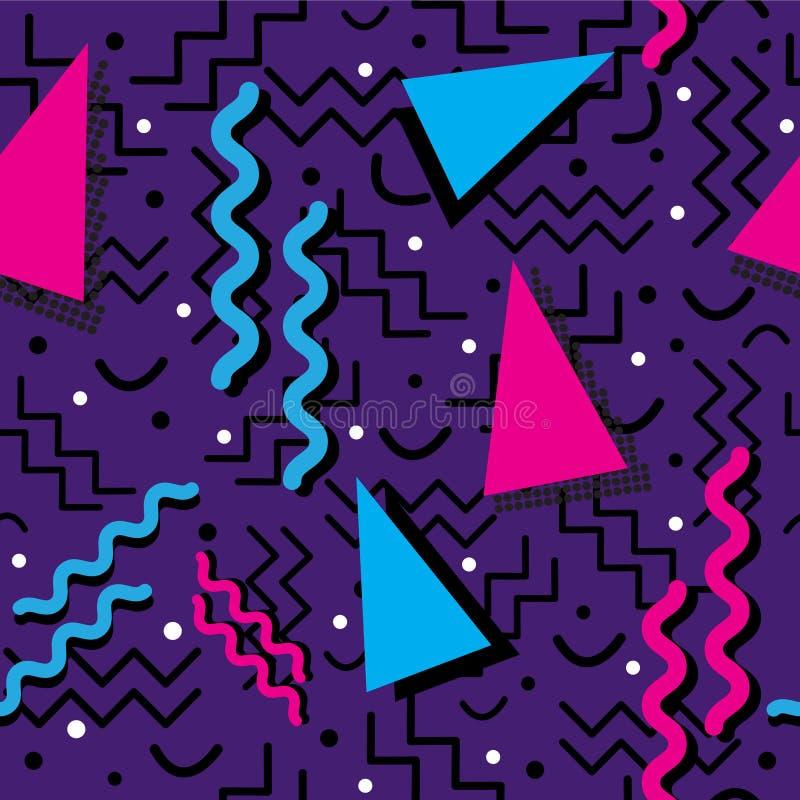 Memphis Pattern enrrollado en púrpura stock de ilustración